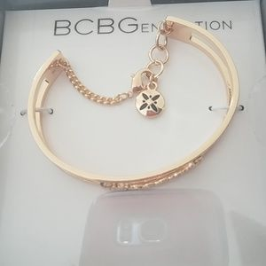 """BCBG open cuff bracelet, """"Blessed"""" logo. Brand New"""